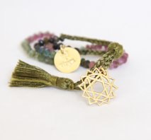 Silk thread chakra bracelet - gold amulet (black, green, brown)
