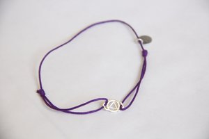Cotton thread chakra bracelet - Silver amulet