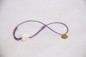 Cotton thread chakra bracelet - Gold amulet