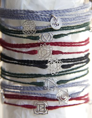 Long cotton thread chakra bracelet